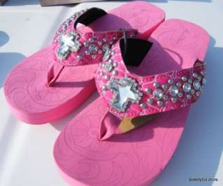 Pink Cross Western Rhinestone Jewel Flip Flop Sandals 7 Comfortable