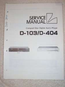 Luxman Service Manual~D 103/404 CD Compact Disc Player