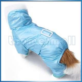 Blue Hoodie Hooded Coat Jacket Jumpsuit Apparel w/ Waist Belt Design L