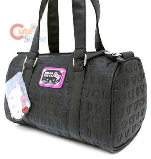 Sanrio Hello Kitty Duffel Hand Bag Black Embossed Metal