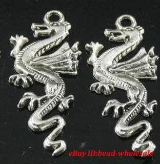 Free ship 4pcs tibetan silver dragon charm pendants