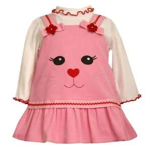 Bonnie Jean Baby/Infant 3M 9M 2 Piece PINK WHITE KITTY CAT/KITTEN FACE