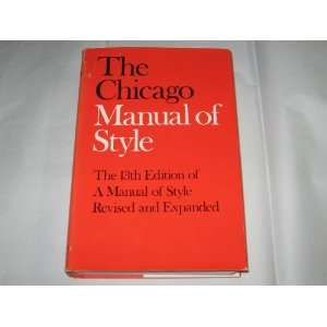 The Chicago Manual of Style. [Subtitle]: Thirteenth