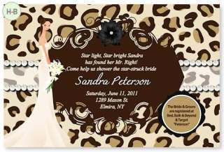 YOUR COLOR Personalized Bridal Shower Wedding Invitations Damask Zebra