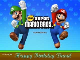 Super Mario Bros. Edible Cake Image Topper   1/4 Sheet