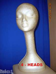 TAN LONG NECK (19 TALL ) STYROFOAM MANNEQUIN WIG / HAT DISPLAY (4