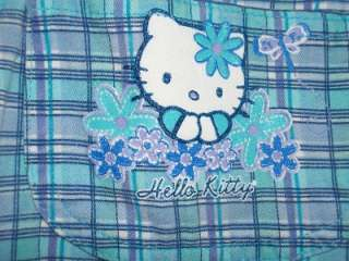 Girls SANRIO HELLO KITTY Blue Plaid Overalls Shorts