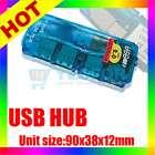 HIGH SPEED 4 PORT MINI USB 2.0 HUB LAPTOP PC SLIM BLUE