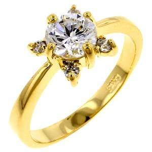 18K Yellow Gold Plated Rose Ring   7 Jewelry