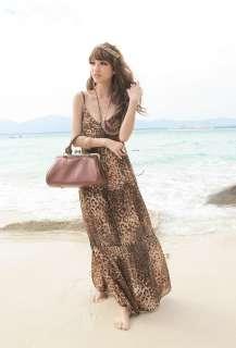 Womens BOHO Style V Neck Chiffon Spaghetti Strap Long Maxi Dress #37