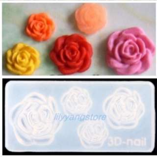 Nail Art Design Rose Fish Heart Lollipop Skull Mold Decorations