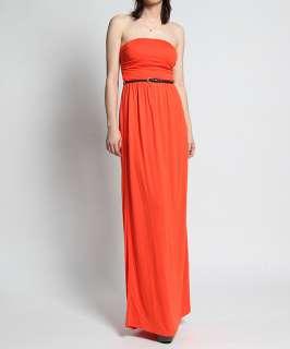 MOGAN Vivid Color Strapless Draped Jersey LONG MAXI DRESS w/ Belt Slim