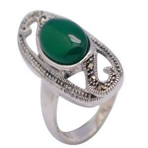 Sterling Silver Green Agate Ring Size 7.5 Jewelry