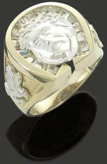 Mens .925 Silver CZ Two Tone Gold Plated Baguette CZ Jesus Face Ring