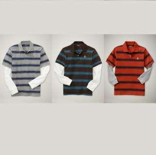 Gap Kids Boys 2 In 1 Stripe Striped Skull Polo Shirt Grey/Brown/Orange
