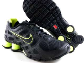 Nike Shox Turbo 12 + Black/Lime Green Running Trainer Gym Work Out Men
