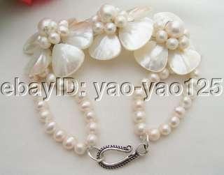 White Pearl&Shell Flower Bracelet 925 Sliver Clasp