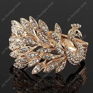 Gold peacock clear Swarovski crystal bracelets cuff