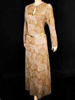 VTG 60s METALLIC Gold & Silver Floral Knit Flared Day Party Maxi Dress