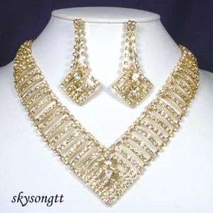 Clear Crystal Bridal Pendant Gold Necklace Earrings Set S1448Y
