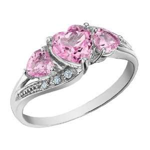 Created Pink Sapphire Heart Ring with Diamonds 1.53 Carat (ctw) in 10K