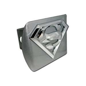 Superman Brushed Silver with Chrome S Emblem Trailer Hitch Cover