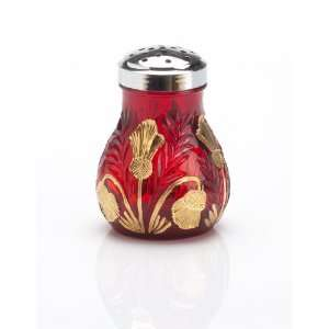 Solid Ruby Red Glass Gold Decorated Sugar Shaker Inverted