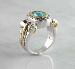 Blue Topaz CZ Brass Ring w/ Rhodium Finish Silver Gold Tone Designer