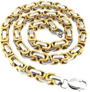 Mens Stainless Steel Polish Silver Gold Tone Byzantine Necklace Free