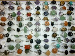 bulk Lots mixed 50pcs top quality natural stone fashion ladys silver