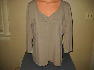 Used Women XL 14 Eddie Bauer L/S Green Stretch Top Shirt Layer