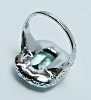 Antique 6.5ct Cushion Aquamarine Ring 14K White Gold Estate Jewelry