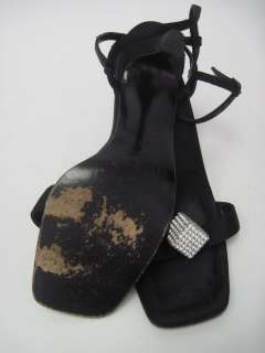 ANNE KLEIN Black Satin Rhinestone Ankle Strap Pumps 7.5