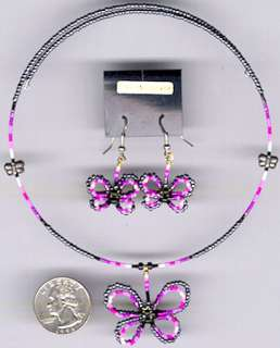 BUTTERFLY NECKLACE SET#01,NATIVE AMERICAN BEAD JEWELRY