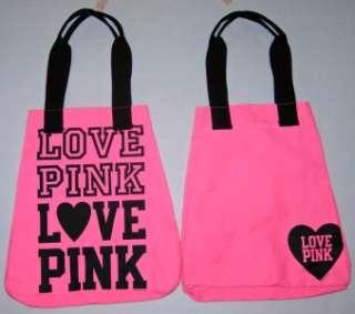 Victoria Secret PINK Love Heart Print Canvas Beach Tote Purse Bag RARE