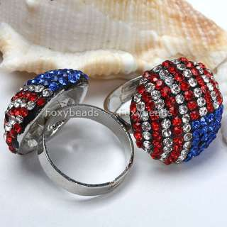 Red Blue Crystal Flag Adjustable Cocktail Ring#6.5 XMAS GIFT
