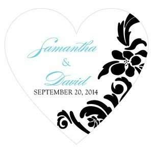 Love Bird Damask Heart Sticker   Package of 36