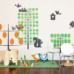 Orange & Green Trees Wall Stickers Baby