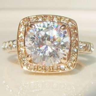 Carat swarovski crystal 18K gold GP ring promise engagement wedding