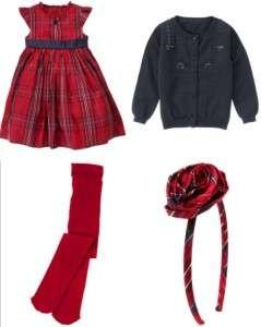 Holiday Traditions Dress Set 4 5 Cardigan Tights Headband Plaid