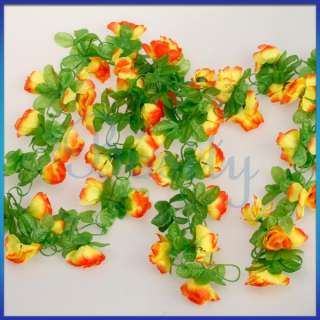 Artificial Rose Bud Garland Silk Flower Vine for Home Wedding Garden