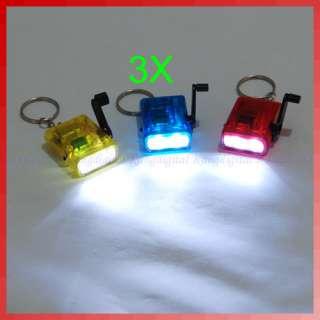 pcs Mini Hand Crank Power Flashlight Torch LED Light Lamp