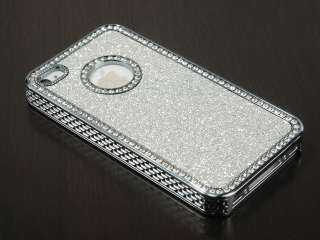 Silver Glitter Sparkle Diamond Bling Case Cover For iPhone 4 4S 4G