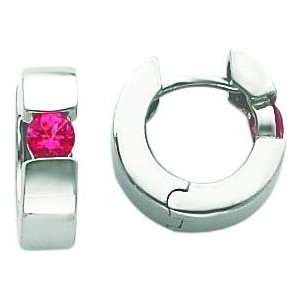 White gold Pink Spinel Hoop Earrings Jewelry New Jewelry