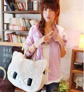 Cute Fashion Women Girls Cat Head Style Plush Shoulder Bag Handbag