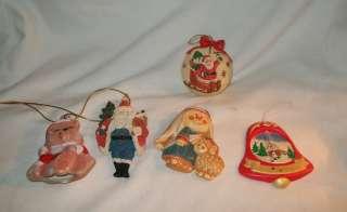 vintage lot of 5 ceramic Christmas tree ornaments Santa bell bear ball