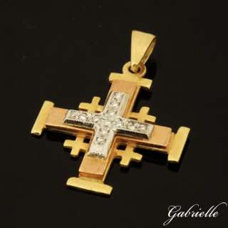 JERUSALEM CROSS PENDANT 18K SOLID YELLOW WHITE AND ROSE GOLD