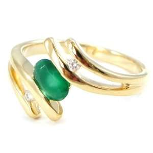 Ring plated gold scarlett emerald green.   Taille 56 Jewelry