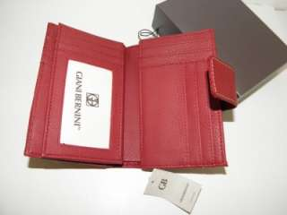 NEW GIANI BERNINI RED SOFTY CORE SOFT LEATHER CREDIT CARD COIN WALLET