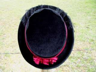 NEW LADIES VICTORIAN Black Gothic Velvet Dress Top Hat